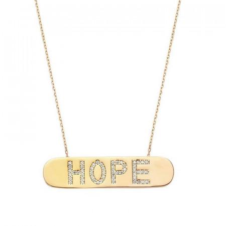 Hope Bar Silver CZ Turkish Necklace images