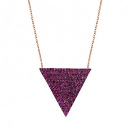 Paved Triangle CZ Rubby Sterling Silver Necklace images