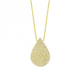 Teardrop Pendant Silver Yellow Gold Necklace images