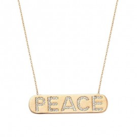 Peace Bar Necklace Yellow Gold images