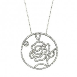 Rose Handmade Flower Necklace Silver images