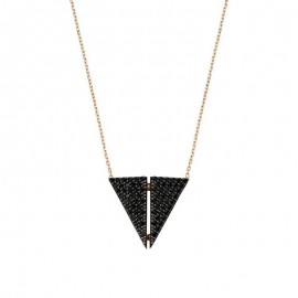 Triangle Silver Black Stone Necklace Wholesale images
