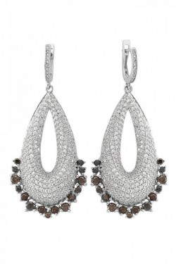Wholesale CZ Silver Turkish  Earrings White Gold Plated images