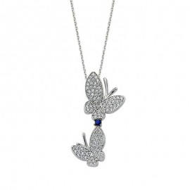 Butterfly Jewelry Wholesale White Stone Silver Pendant images