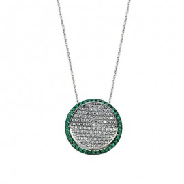 Green Stone CZ Silver Necklace images