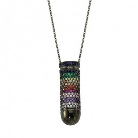 Multi Gemstone Necklace Pendant Womens Silver Wholesale images