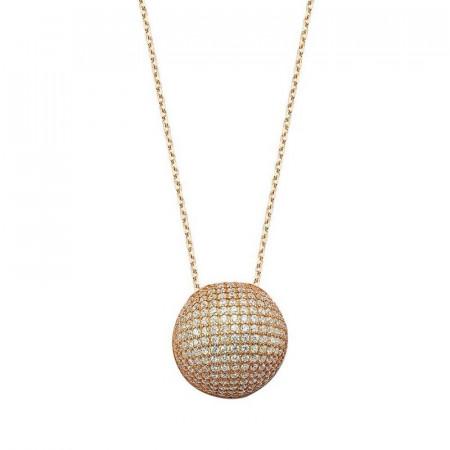 Round Pave Design CZ Silver Necklace images