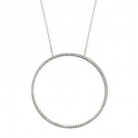 Simple Circle Siver Gold Turkish CZ Necklace images