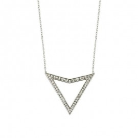 White Stone Silver Triangle Necklace Wholesale images