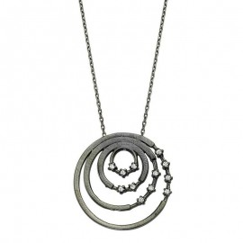 Black Rhodium Chain Circle Silver Necklace images