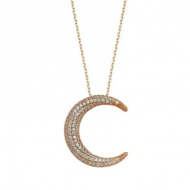 Turkish Moon Design Silver Gold Layering Necklace images