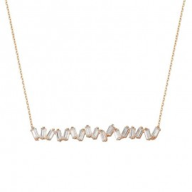 Bar Rose Gold Plated Silver Necklace images