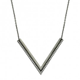 Black Rhodium Plated Silver Necklace Wholesale images