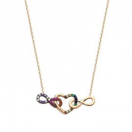 infinity Heart Necklace Gold Plated Silver Wholesale images