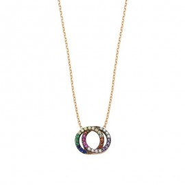 Circles Multi Gemstone Silver Turkish Necklace images