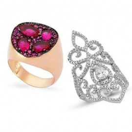 Wholesale CZ Multicolor Turkish Ruby Silver Rings images