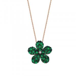 Green Flower CZ Turkish Jewellery Silver Necklace