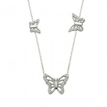 Long Chain White Gold Butterfly Turkish Necklace