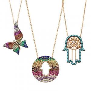 Wholesale Turkish Hamsa Fatima Hand Necklace Pendants Silver