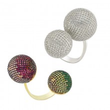 Pave Style Handmade Rings Silver in Turkish Wholesale