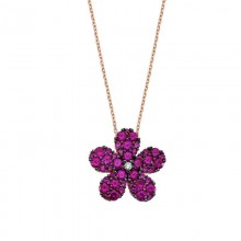 Silver in Turkish Flower Rubby Necklace Wholesale