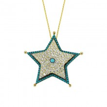Star Design Silver Necklace Turkish Design Wholesale
