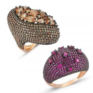 Turkish Luxury Design Zirconia Silver Rings Wholesale