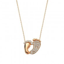 Baby Feet Pendant Necklace Gold Silver in Turkish Wholesale
