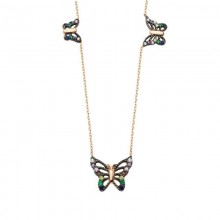 Butterfly Turkish Necklace Gold Plated over Sterling Silver