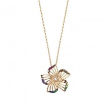 Flower Silver Necklace Gold Tone Wholesale
