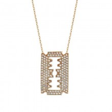 Razor Blade Necklace Yellow Gold Plated Silver