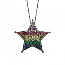 Black Rhodium Chain Star 925 Silver Pendant Wholesale