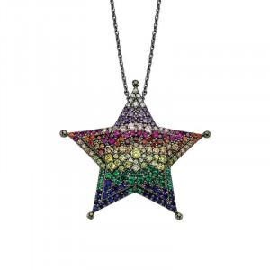 Black Rhodium Chain Star 925 Silver Pendant Wholesale