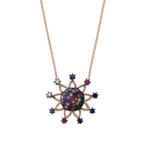 Multi Gemstone Sterling Silver Flower Necklace