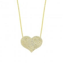 Sterling Silver Heart Pendant Yellow Gold Plated Wholesale
