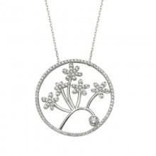 Flower CZ Bead Turkish Silver Necklace