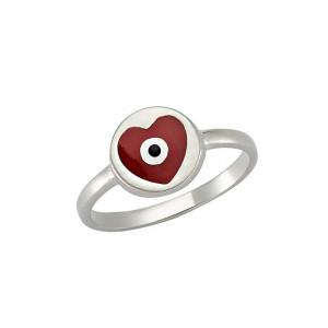 Wholesale heart design evil eye ring