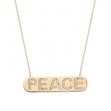 Peace Bar Necklace Yellow Gold