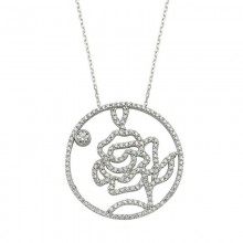 Rose Handmade Flower Necklace Silver