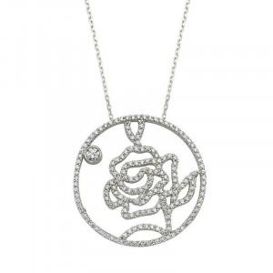 Rose Handmade Flower Necklace Silver