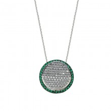 Green Stone CZ Silver Necklace