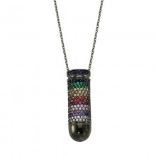 Multi Gemstone Necklace Pendant Womens Silver Wholesale