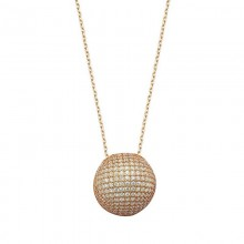 Round Pave Design CZ Silver Necklace