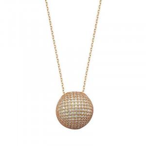 Round Pave Design CZ Silver Necklace