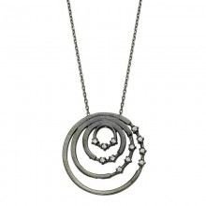 Black Rhodium Chain Circle Silver Necklace