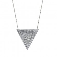 Cubic Zirconia Pendant Necklace White Gold Plated Silver