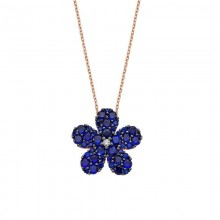 Gemstone Pendant Flower Turkish Silver  Necklace Wholesale
