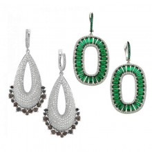 Wholesale CZ Silver Turkish  Earrings White Gold Plated