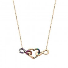 infinity Heart Necklace Gold Plated Silver Wholesale