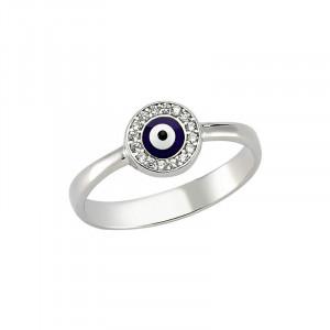 Wholesale dark blue evil eye Turkish ring